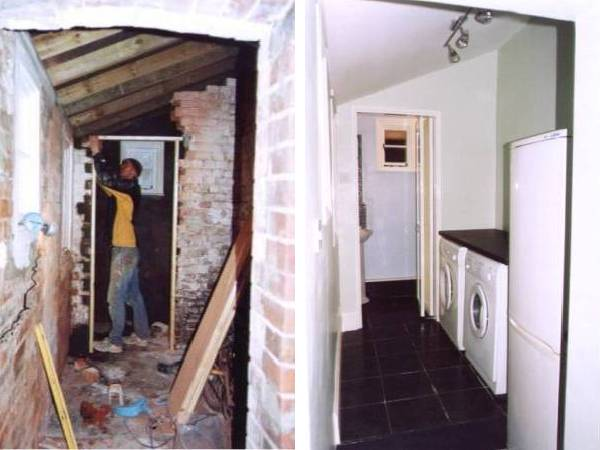 Building a doorway, plastering and decorating a utility area