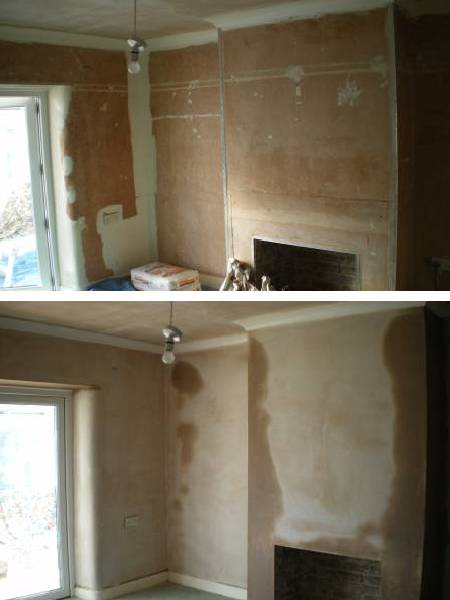 Plastering a sitting room