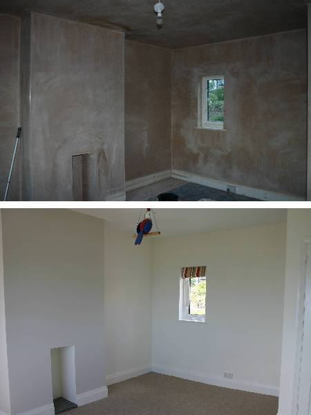 Plastering and decorating babies room