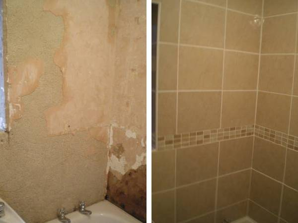 Repairing wall and tiling a bathroom