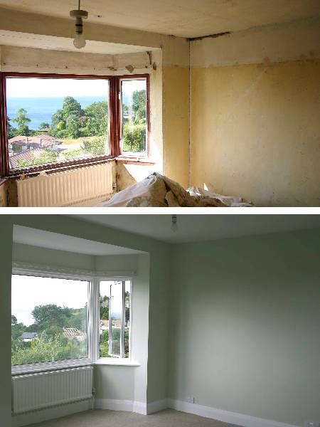 Replastering and decorating a bedroom