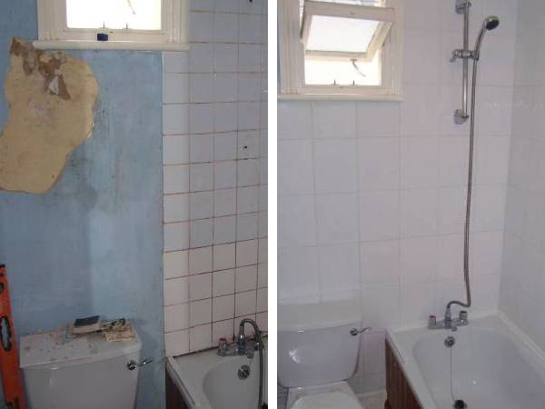 Tiling around a bath and loo